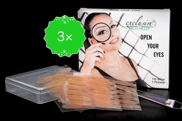3 x Open Your Eyes - weg mit dem Schlupflid - 120 Strips + 1 Pinzette